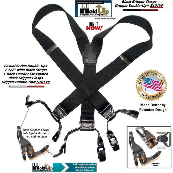 Holdup Brand Black Pack Gripper Clasp Double-Up Y-back Suspenders with Patented Gripper Clasps