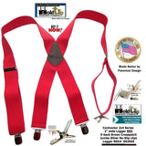"Heavy Duty Logger RED 2"" Wide Holdup X-back Suspenders with Patented Jumbo Silver-tone No-Slip Clips"
