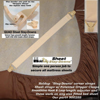 HoldUp Stay-Downs Adjustable Fitted Sheet Mattress Corner Straps with Patented Gripper Clasps