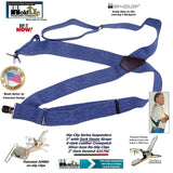 HoldUp Brand Dark Denim Trucker Style Hip-clip Suspenders with Patented Silver tone Jumbo No-slip Clips