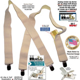 HoldUp beige Undergarment XL Hidden X-back Suspenders with Patented Silver No-slip Clips