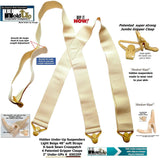 HoldUps Under-Up Series Tan Suspenders with Patented Jumbo Gripper Clasps