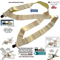 "Hip-clip style  2"" Wide Holdup Undergarment  hidden Suspenders with Patented No-slip Metal Clips"