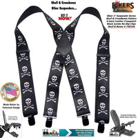 "Holdup Brand USA made 2"" wide Biker Skull & Crossbones pattern X-back suspenders with Jumbo no-slip clips"