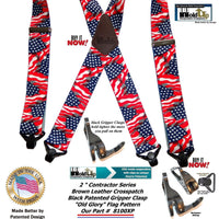 Holdup Old Glory US Flag pattern X-back Suspenders with super strong black Gripper Clasps