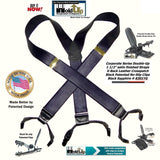 "Holdup Black Sapphire 1 1/2"" Wide Satin Finish Double-ups Style suspenders with Patented No-slip clips"