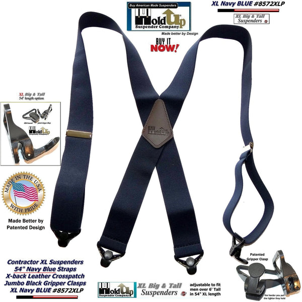 Hold-Ups Extra Long XL Navy Blue work Suspenders with Jumbo Gripper Clasps