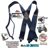 "Hold-Ups Heavy Duty Navy Blue 2"" Wide Work Suspenders with black Gripper Clasps"