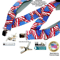USA Flag pattern Holdup Hip-Clip 2 inch wide suspenders with Patented Jumbo silver tone  no-slip clips