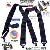 HoldUp Brand XL Black Under-Up Series Suspenders with Super Strong Jumbo Gripper Clasp