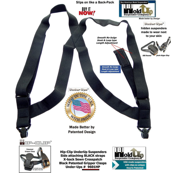 Holdup All Black No-buzz Undergarment Hip Clip Hidden side clip Suspenders with Gripper clasps