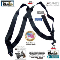 "Hold-Ups All Black No-buzz Undergarment 1 1/2"" Wide Hip Clip Hidden side clip Suspenders"