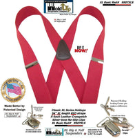 Holdup Brand Classic Series Red X-back XL Suspenders with Patented No-slip Clips