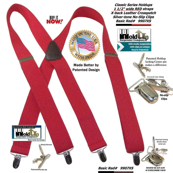 Holdup Bright RED Classic X-back Suspenders with Patented Silver-tone No-slip clips