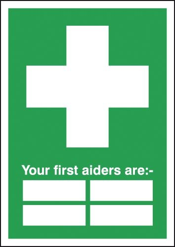 First Aiders Sign with 4 spaces