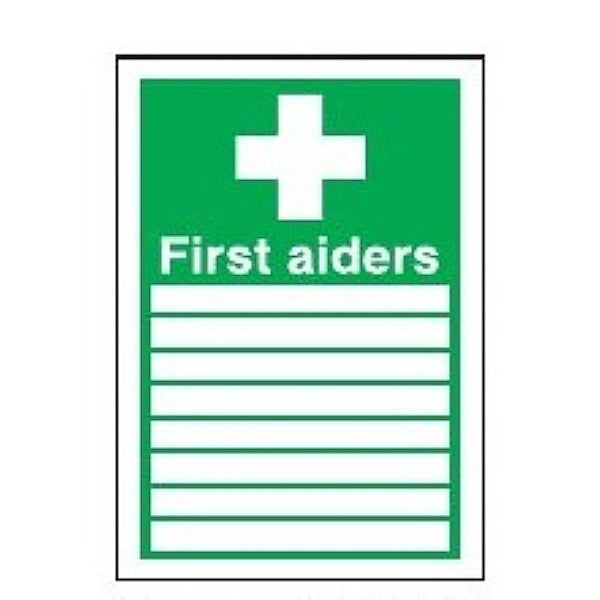First Aiders Sign With 8 Spaces