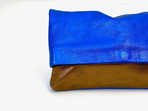 Majorelle Blue and Broze fold over Clutch
