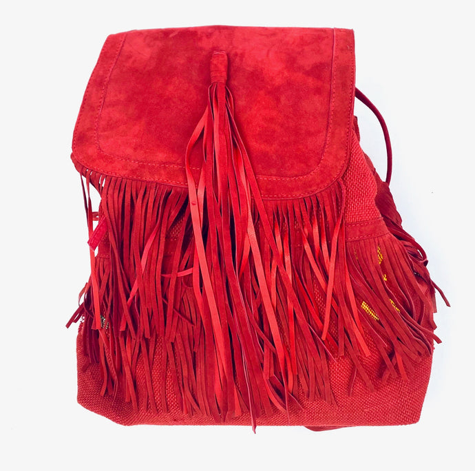 RED TASSEL BACKPACK