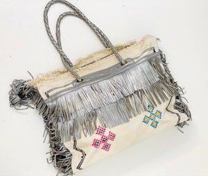White Cactus Silk with Silver Leather Fringe Weekender