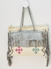 Load image into Gallery viewer, White Cactus Silk with Silver Leather Fringe Weekender