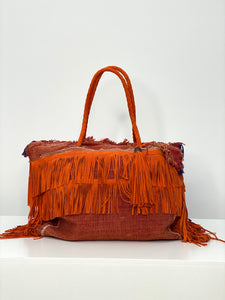 Orange Cactus Silk Leather Fringe Weekender