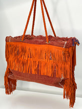 Load image into Gallery viewer, Orange Cactus Silk Leather Fringe Weekender