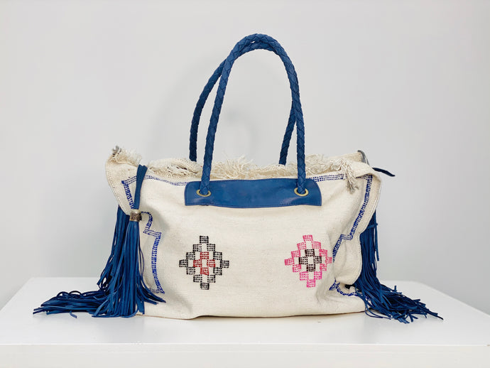 White Cactus Silk Blue Leather Fringe Weekender