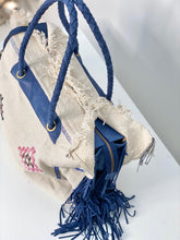 Load image into Gallery viewer, White Cactus Silk Blue Leather Fringe Weekender