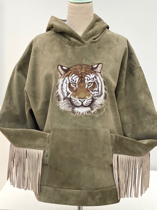 Tiger Sage Suede Leather Fringe Hoodie with tie dye lining