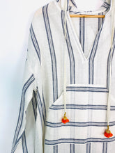Load image into Gallery viewer, BLUE AND WHITE STRIPED KAFTAN