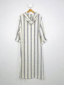 BLUE AND WHITE STRIPED KAFTAN DRESS