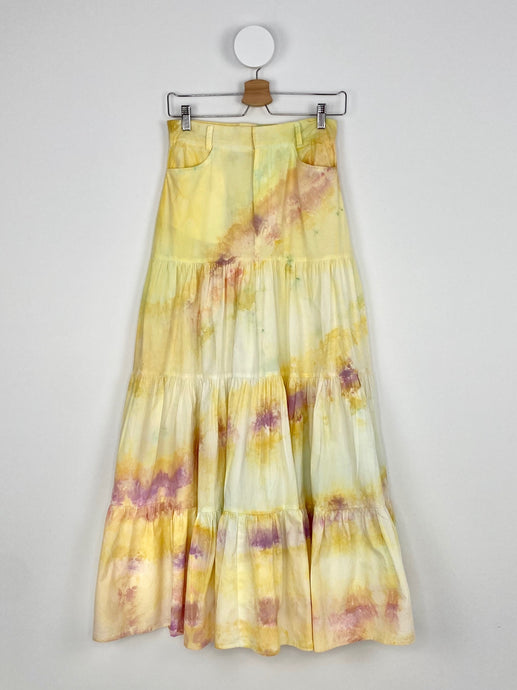 ICE DYE YELLOW LONG GATHERED TIERED SKIRT
