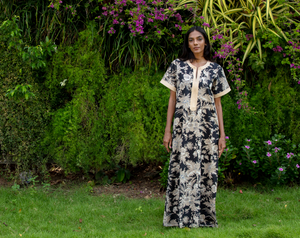 Diya Nightgown- Black Chinoiserie