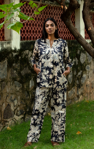 Radha Tunic Pj Set- Black Chinoiserie
