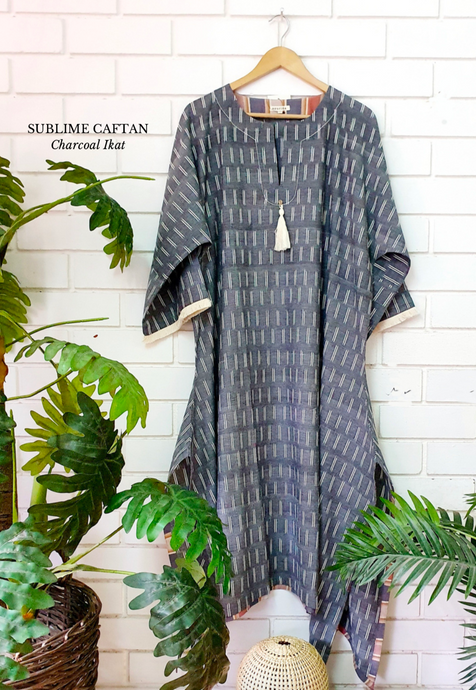 Sublime Caftan- Charcoal Ikat