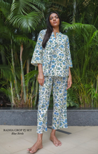 Load image into Gallery viewer, Radha Crop PJ Set- Blue Birds
