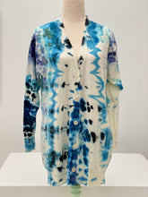 Load image into Gallery viewer, Navy Ice Dye little Sister Merino Wool Cardigan