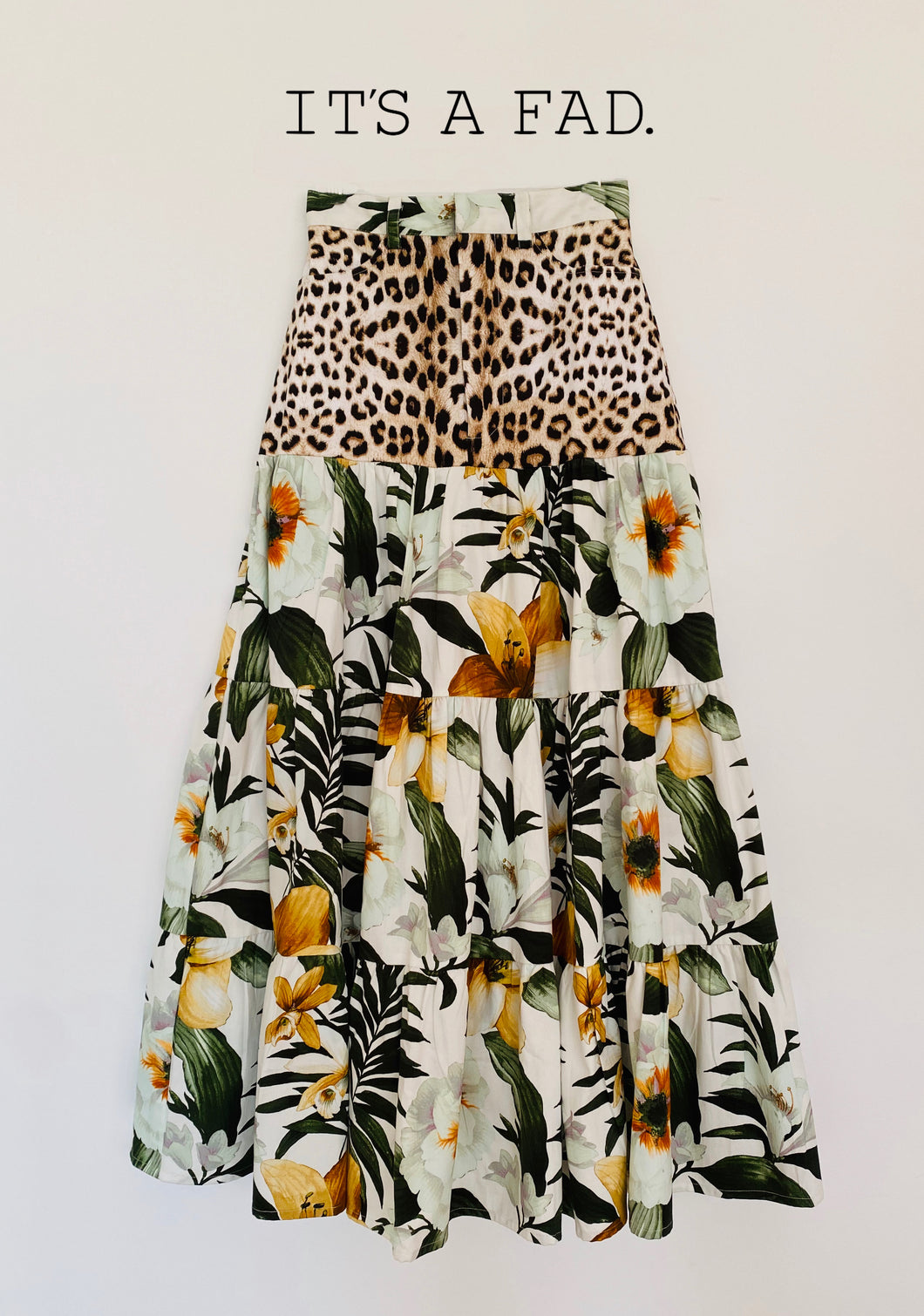 Savvanah Long GATHERED TIERED SKIRT - Roberto Cavalli Leopard & floral