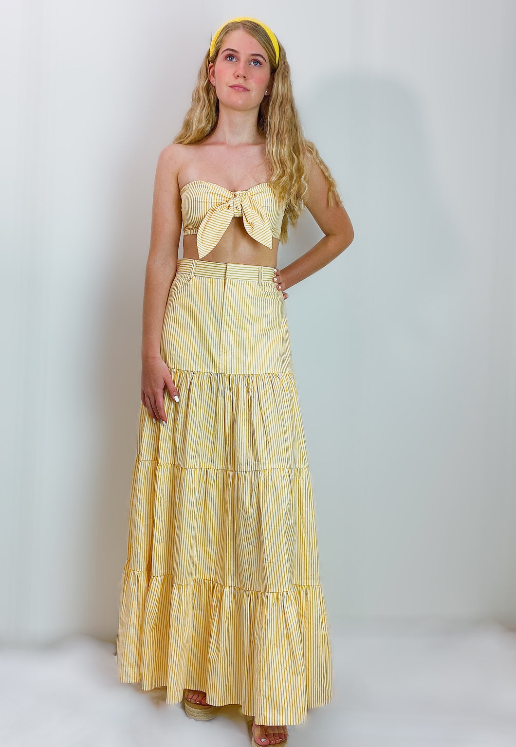 Yellow stripes Bandeau Top and Tiered Skirt Set