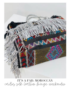 Black Cactus Silk with Silver Leather Fringe Weekender