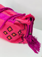 Load image into Gallery viewer, Pink cactus silk Moroccan Leather Fringe Weekender