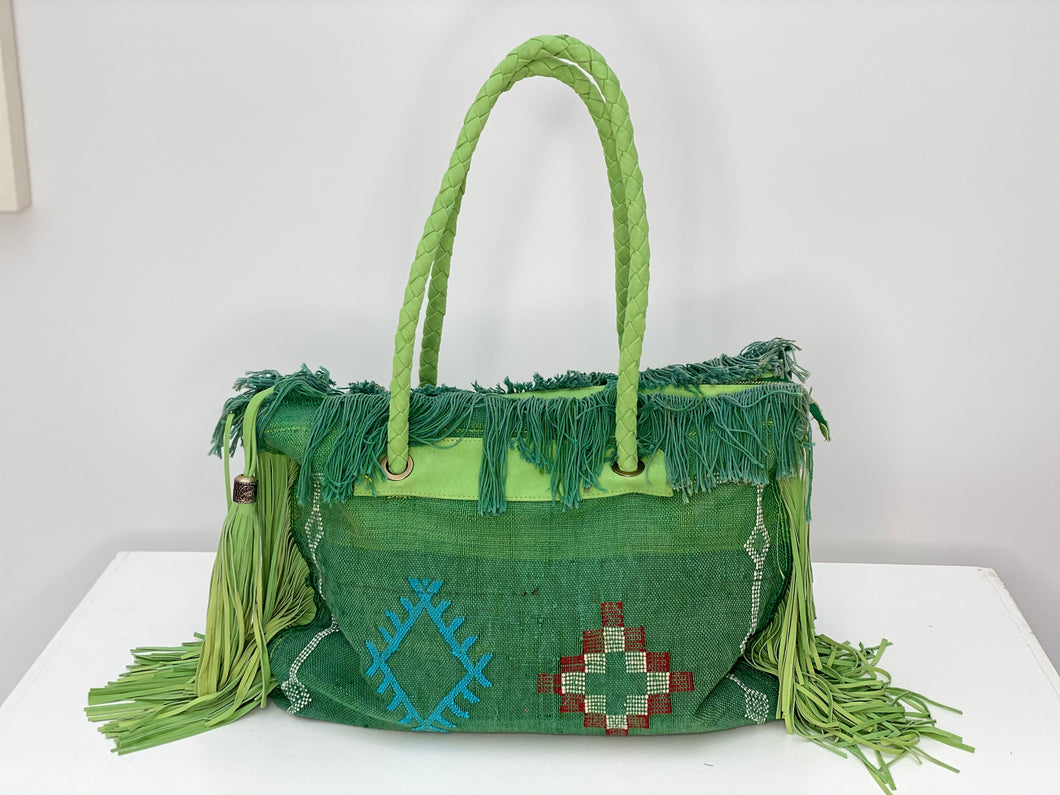 Green Cactus Silk Leather Fringe Weekender
