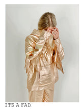 Load image into Gallery viewer, Rose Gold Leather Fringe Hoodie with Tie Dye Lining