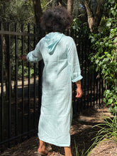 Load image into Gallery viewer, Turquoise Linen Hoodie Kangaroo Pouch Kaftan