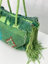 Load image into Gallery viewer, Green Cactus Silk Leather Fringe Weekender
