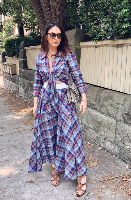 Linen madras check Tie Top and circle skirt  Set
