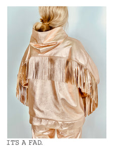 Rose Gold Leather Fringe Hoodie with Tie Dye Lining