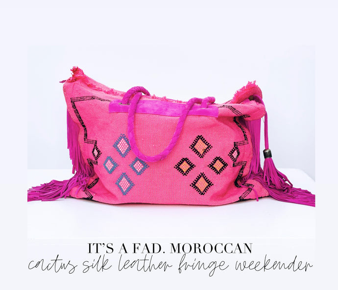 Pink cactus silk Moroccan Leather Fringe Weekender