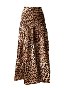 LONG GATHERED TIERED SKIRT - Roberto Cavalli Leopard