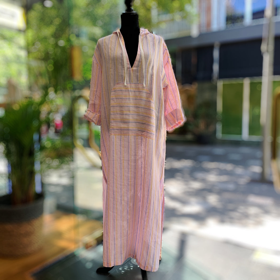 Pink Stripe Kaftan, women's One Size